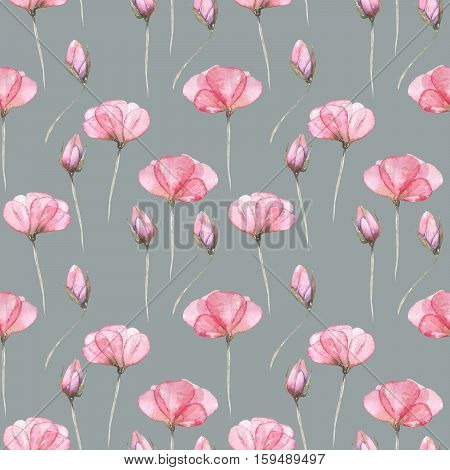 Seamless floral pattern with pink tender flowers hand drawn in watercolor on a gray background