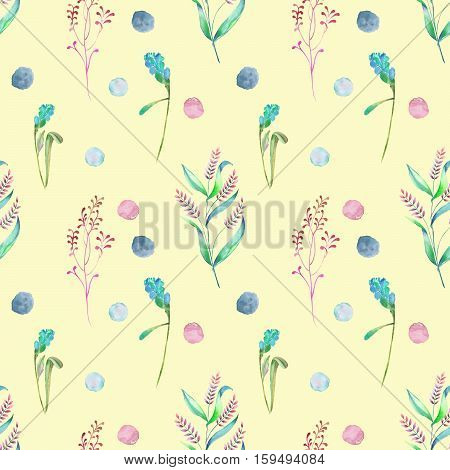 Seamless floral pattern with forest floral elements and watercolor spots hand drawn in watercolor on a yellow background