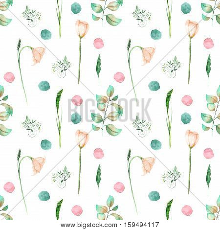 Seamless floral pattern with pink flowers and floral elements hand drawn in watercolor on a white background