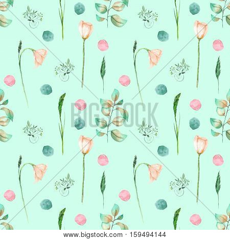 Seamless floral pattern with pink flowers and floral elements hand drawn in watercolor on a mint background