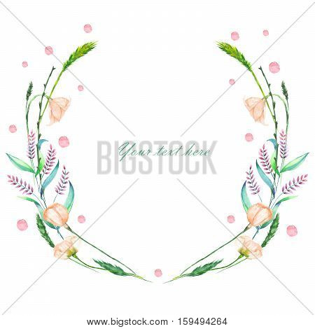 Circle frame, wreath of pink wildflowers and green spikes, hand painted in watercolor on a white background, greeting card, decoration postcard or invitation