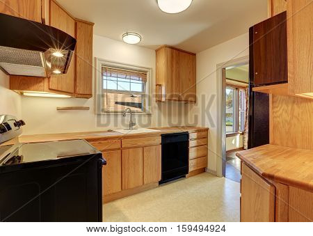 Kitchen Room With Flat Panel Cabinets And Black Appliances