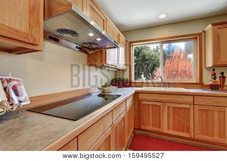 Kitchen Interior With Honey Cabinets And Built-in Appliances