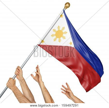 Team of peoples hands raising the Philippines national flag, 3D rendering isolated on white background