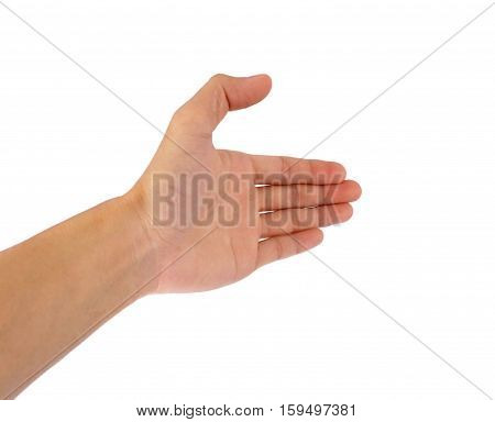 Using hand gestures like shaking hands with other people