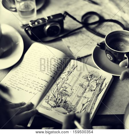 Coffee Table Drawing Nature Concept