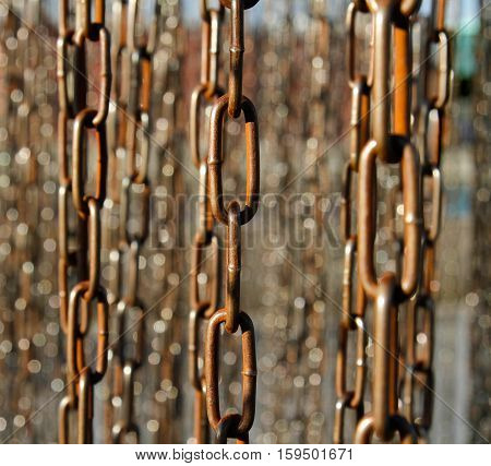 Abstract background of old rusty metal chains