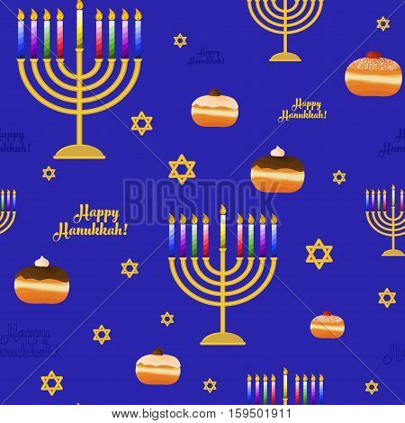 Seamless pattern with symbols for holiday of Hanukkah hanukkah menorah sufganiyah - traditional donut Magen David and congratulation - Happy Hanukkah. Vector illustration