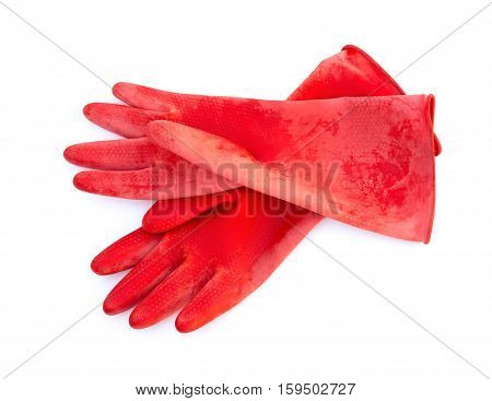 pair red gloves on a white background
