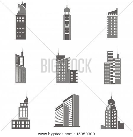 Vector illustrations of skyscrapers. Great design elements for various projects!