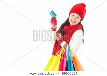 Winter Sale Shopping With Credit Card. Asian Woman
