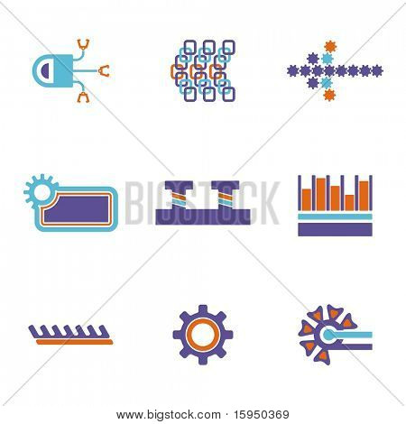 A vector set of technical design elements.