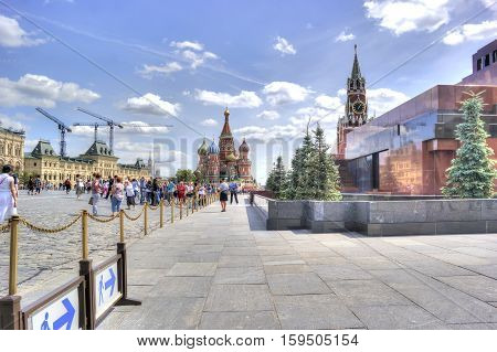 MOSCOW RUSSIA - July 08.2015: Mausoleum of Lenin Kremlin and St. Basil's Cathedral on Red Square in the historic center of city