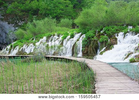 Cascades And Tourist Path In Plitvice Lakes Park