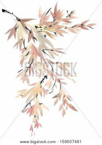 Watercolor and ink tree leaves painted in style sumi-e u-sin. Oriental traditional painting.