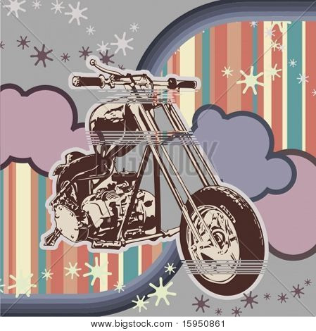Vector background with a motorcycle.