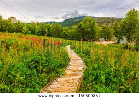 Wooden walkway to the viewpoint of beautiful fjord among meadow of flowers on cloudy day Northern Norway. Oil painting effect.
