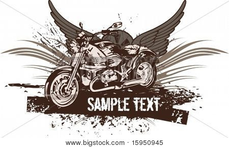 Vector grunge background with a hot rod motorcycle and wings.