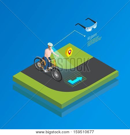 Augmented reality navigation system isometric poster with cyclist interacting with smart glasses computing landscape vision vector illustration