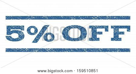 5 Percent Off watermark stamp. Text caption between horizontal parallel lines with grunge design style. Rubber seal cobalt blue stamp with dirty texture. Vector ink imprint on a white background.