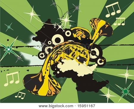 Music instrument background with horns.