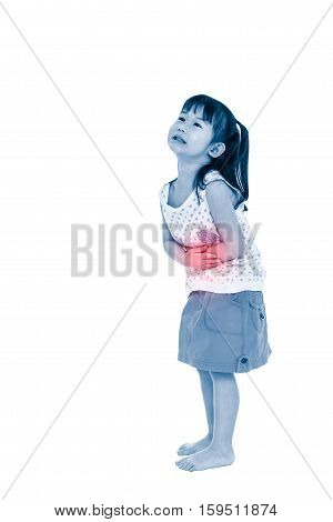Asian Child Suffering From Stomachache. Isolated On White Background.