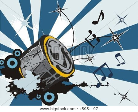 Grunge music instrument background with a drum.