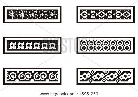 A set of Mexican ornamental designs.