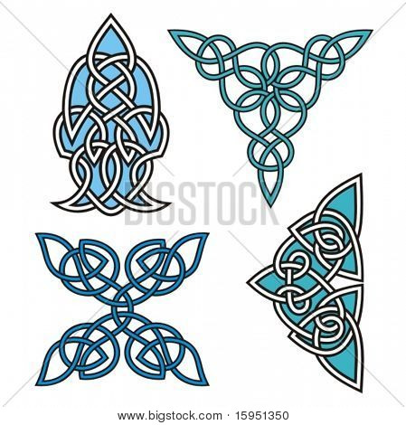 A set of Celtic ornamental designs.