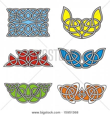 A set of Celtic ornamental designs.