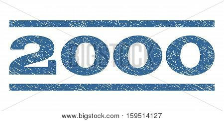 2000 watermark stamp. Text caption between horizontal parallel lines with grunge design style. Rubber seal cobalt blue stamp with dust texture. Vector ink imprint on a white background.