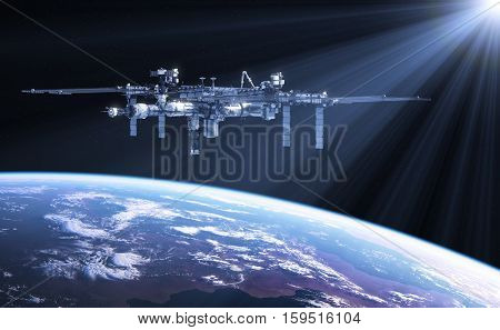 International Space Station In The Rays Of Sun. 3D Illustration.