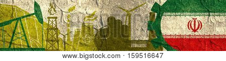 Energy and Power icons set. Header banner with Iran flag. Sustainable energy generation and heavy industry. Concrete textured
