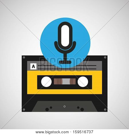 microphone music cassette tape vector illustration eps 10