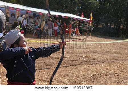 CANAKKALE,TURKEY-SEP 8:Biga played host to hundreds of archers at the third annual Traditional Archery Competition, including Turkish archers dressed like Ottoman janissaries on Sep 8, 2013 in Turkey