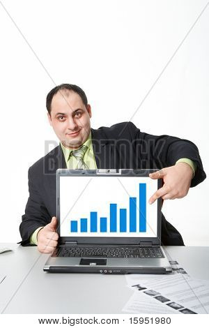 Photo of middle aged employer showing thumb up while pointing at chart on laptop screen