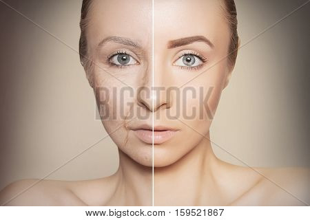 tow halves of caucasian woman face on dark background