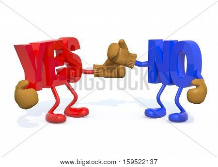 yes and no fightning , 3d illustration