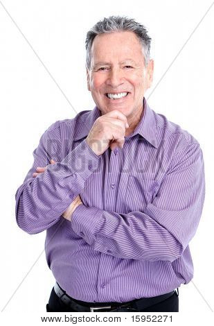 Smiling happy elderly man. Isolated over white background