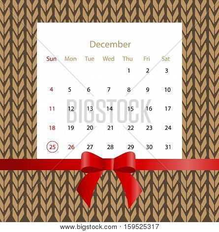 Christmas calendar on the background of knitted sweater. Vector illustration