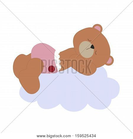 cute baby poster. Bear sleeping on the cloud. Baby shower or arrival. Vector illustration