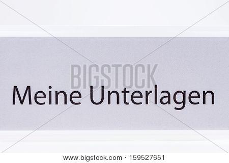 Folder My documents in German language on white background