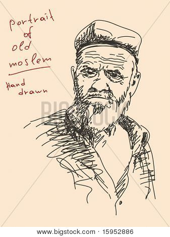 Hand drawn portrait of old muslim Vector. Visit my portfolio for big collection of doodles