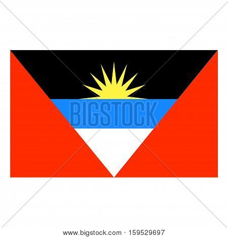 Flag of Antigua and Barbuda on a white background