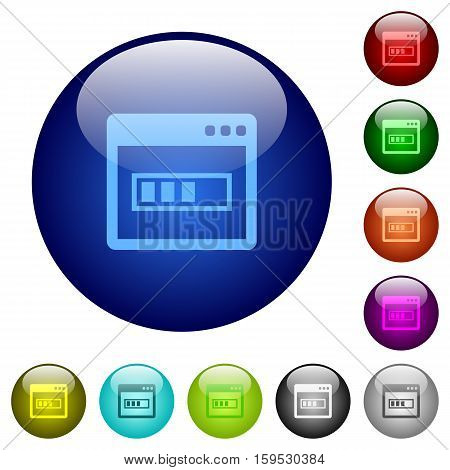 Application installing icons on round color glass buttons