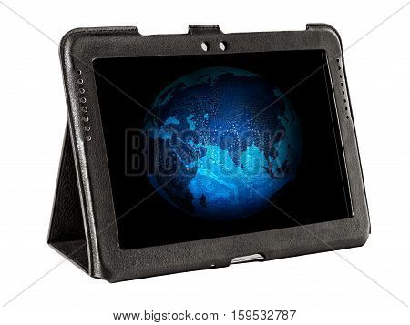Electronic Earth on tablet screen isolated on white