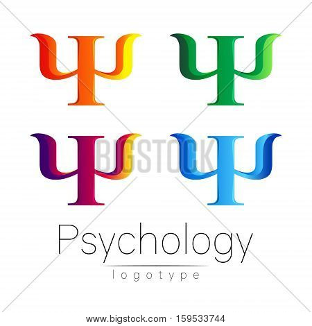 Modern logo Set of Psychology. Psi. Creative style. Logotype in vector. Design concept. Brand company. Green blue violet orange color letter on white background. Symbol for web, print, card, flyer. Bright