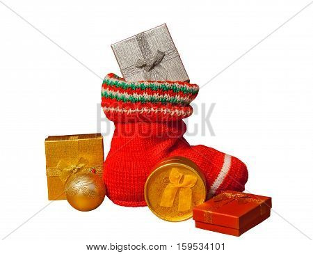 Christmas stocking with presents isolated on white background