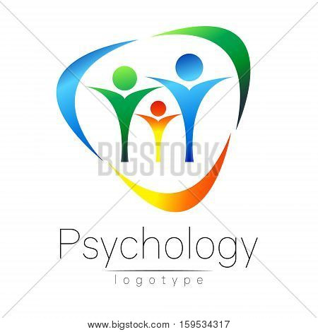 Modern Family logo of Psychology. People in a circle. Creative style. Logotype in vector. Design concept. Brand company. Blue green orange color isolated on white background. Symbol for web, print, card