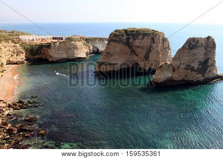 Pigeon Rocks. Raouche District, Beirut, Lebanon, Middle East